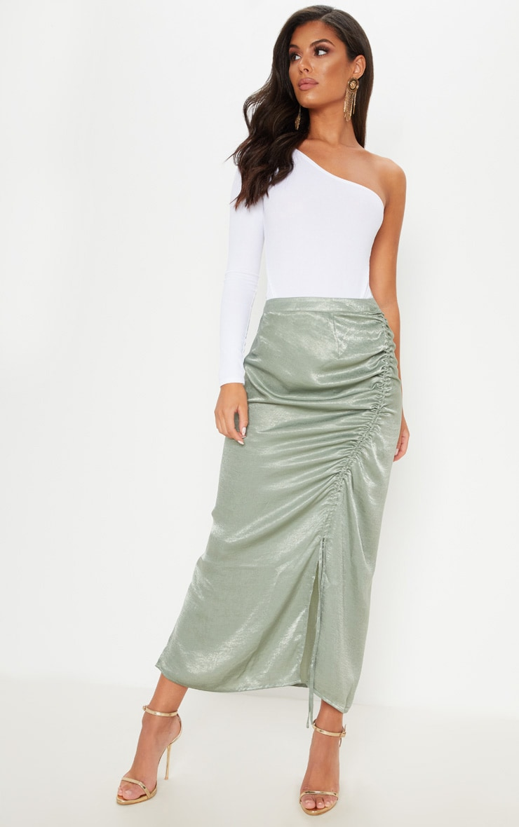 Sage Green Satin Ruched Detail Midi Skirt by Prettylittlething