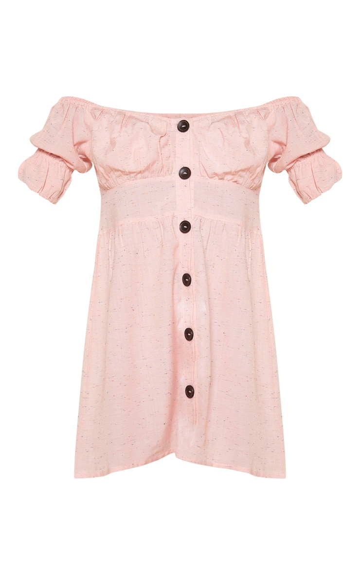 Pale Pink Button Through Bardot Shift Dress 3