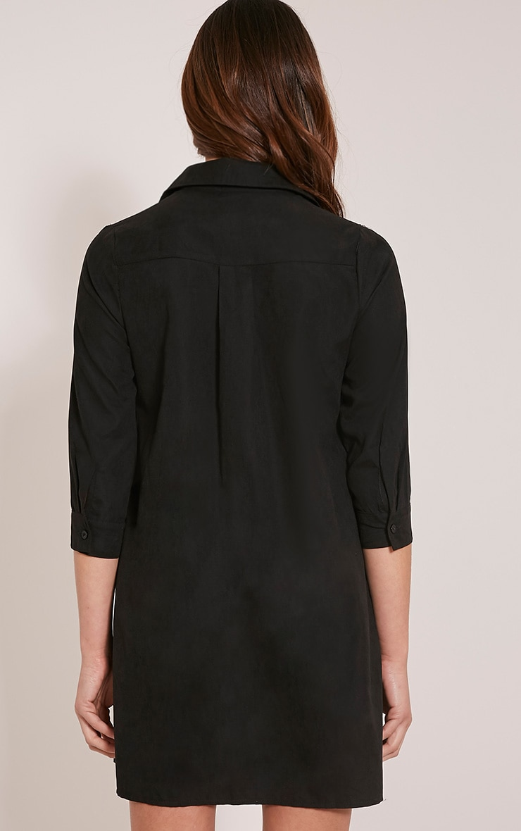Perrie Black Lace Up Soft Feel Shirt Dress 2