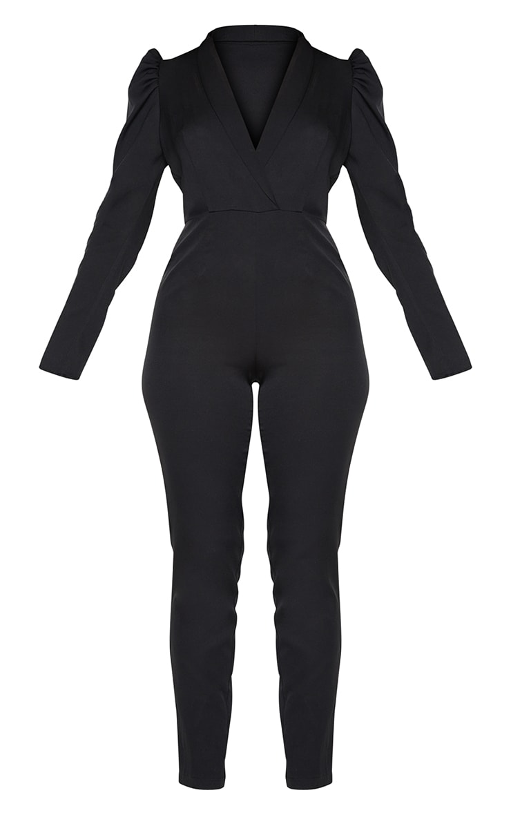 Black Puff Sleeve Blazer Jumpsuit 5