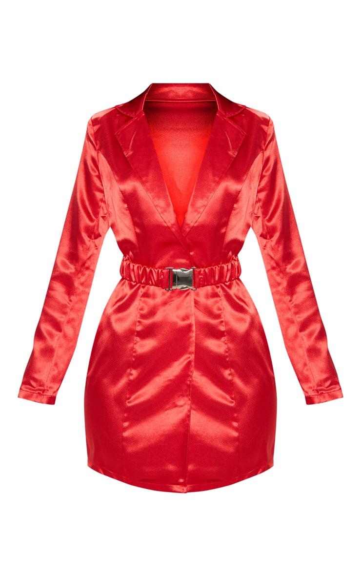 Red Satin Buckle Belted Blazer Dress  3