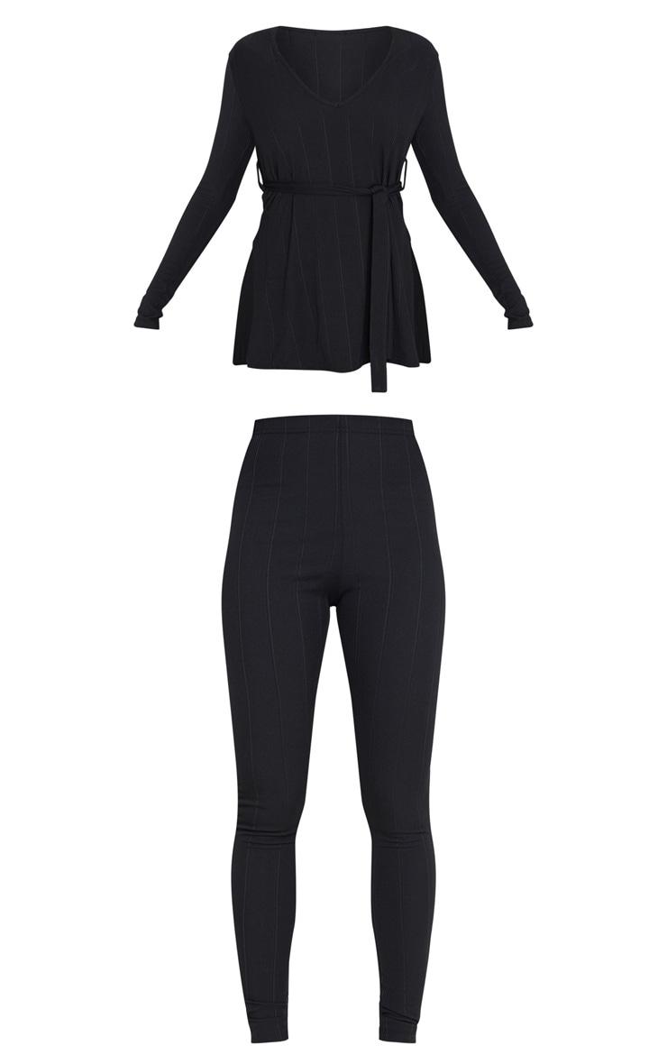 Ensemble côtelé noir top ceinturé + legging 3