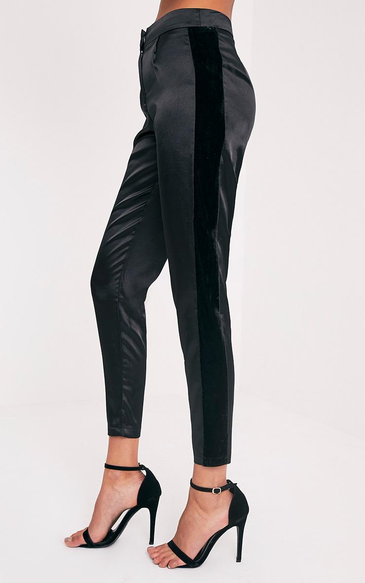 Alaynie Black Velvet Stripe Satin Trousers 4