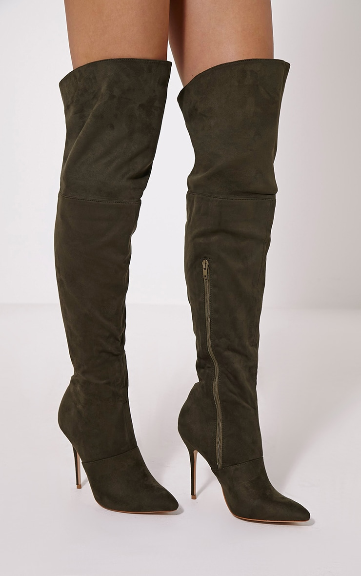 Adiah Khaki Lace Up Detail Over The Knee High Boots 1