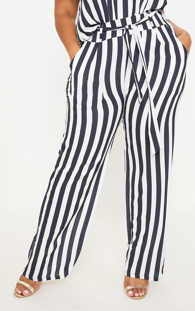 Plus Monochrome Tie Waist Striped Wide Leg Trousers 2