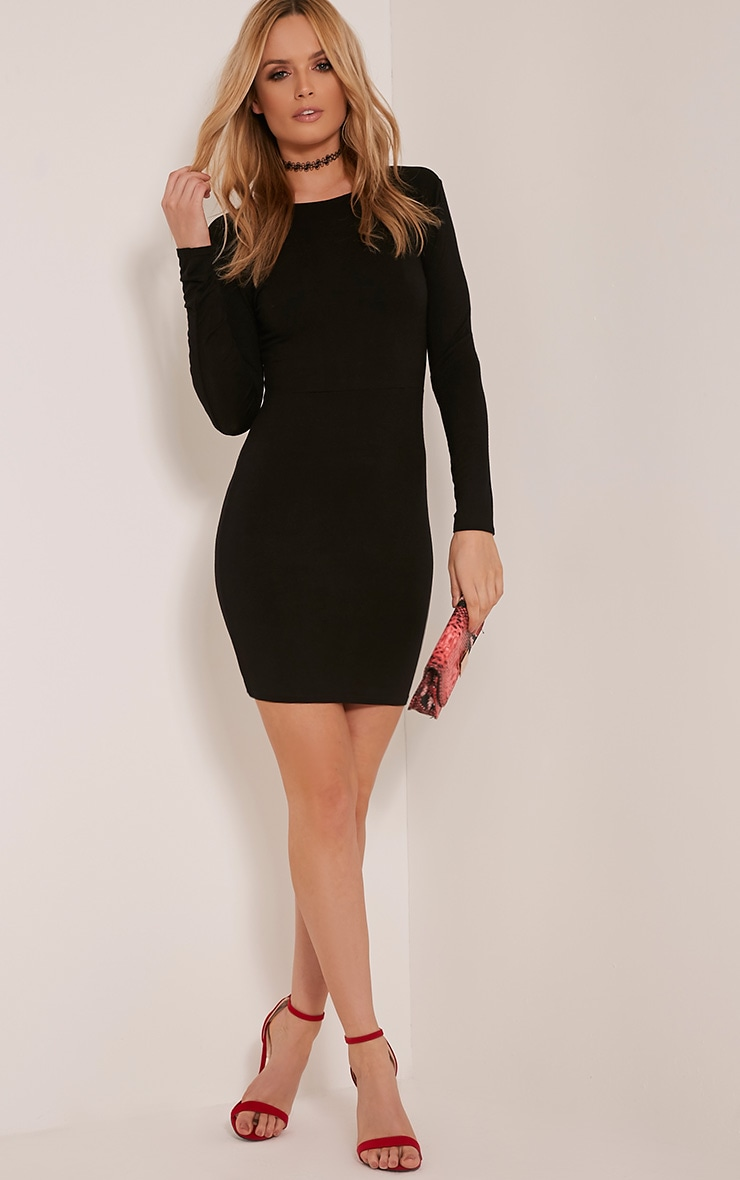 Marcy Black Strappy Back Long Sleeve Bodycon dress 10