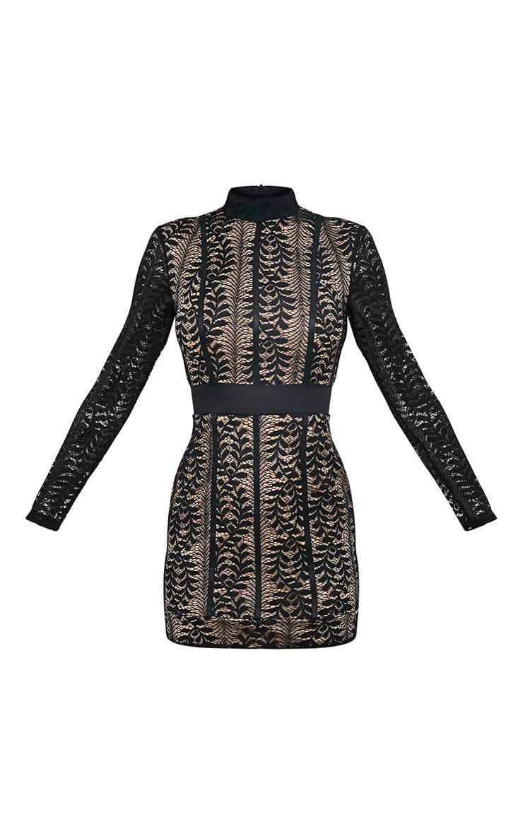 Kirina Black High Neck Lace Bodycon Dress 3