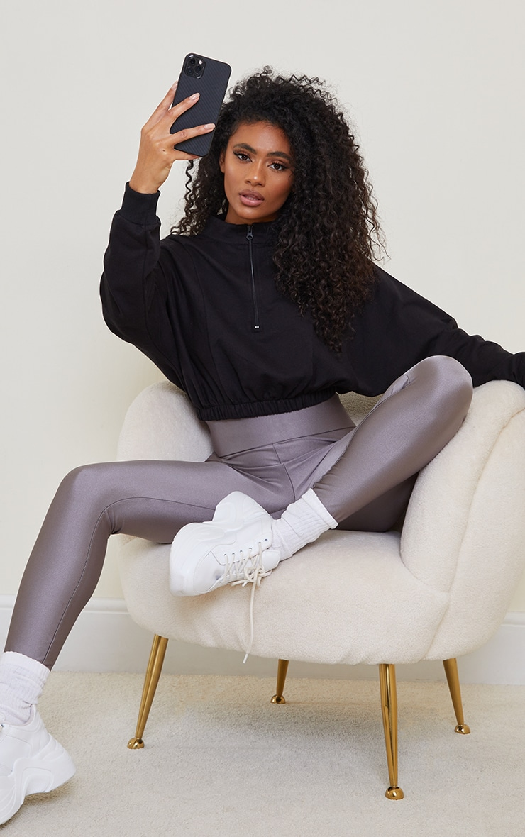 Black Cropped Zip Up Sports Sweater 3