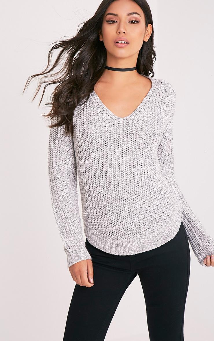 Elania Grey V Neck Cable Knit Jumper 1
