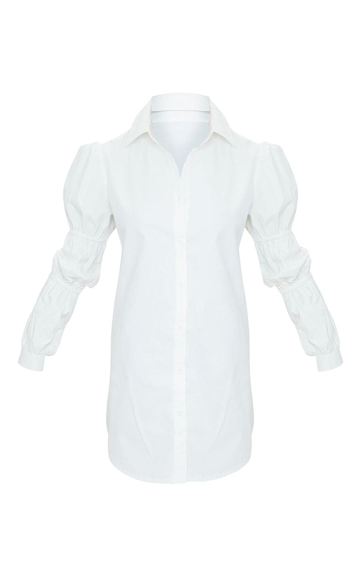 Petite White Ruched Sleeve Oversized Shirt Dress 5