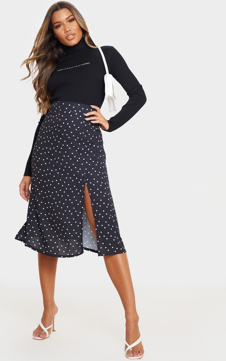 Black Polka Dot Floaty Midi Skirt 1