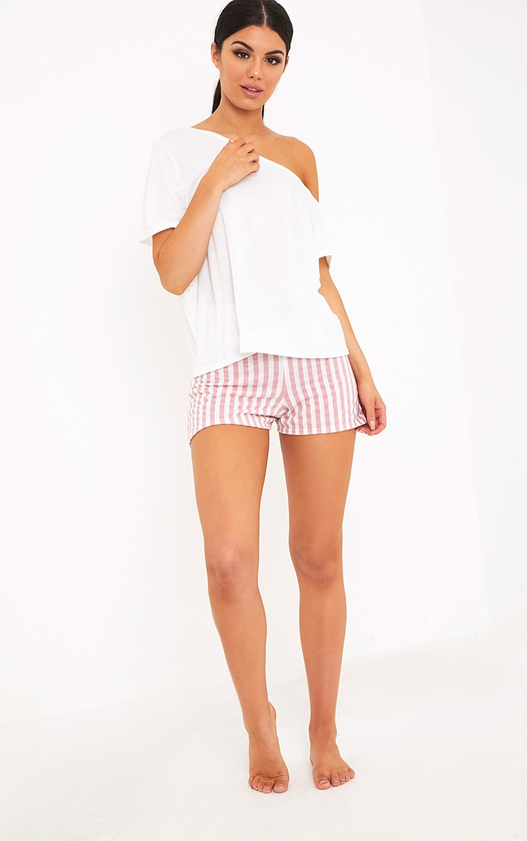 Aviva White Off The Shoulder Top & Short PJ Set 5