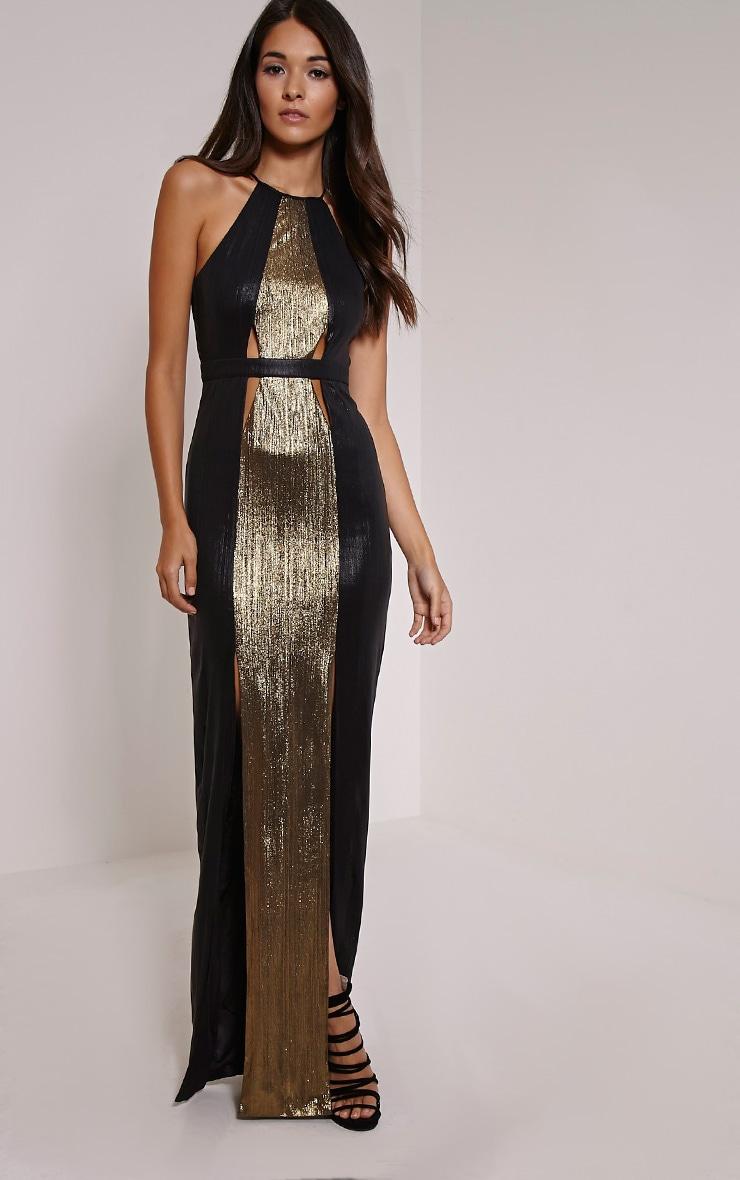 Lucinde Gold Metallic Maxi Dress 1