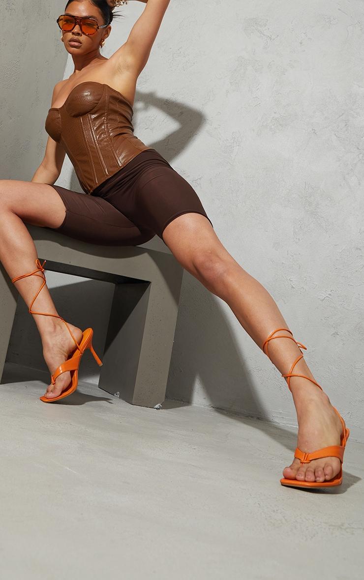 Orange PU Toe Thong Lace Up Mid Heeled Sandals 1