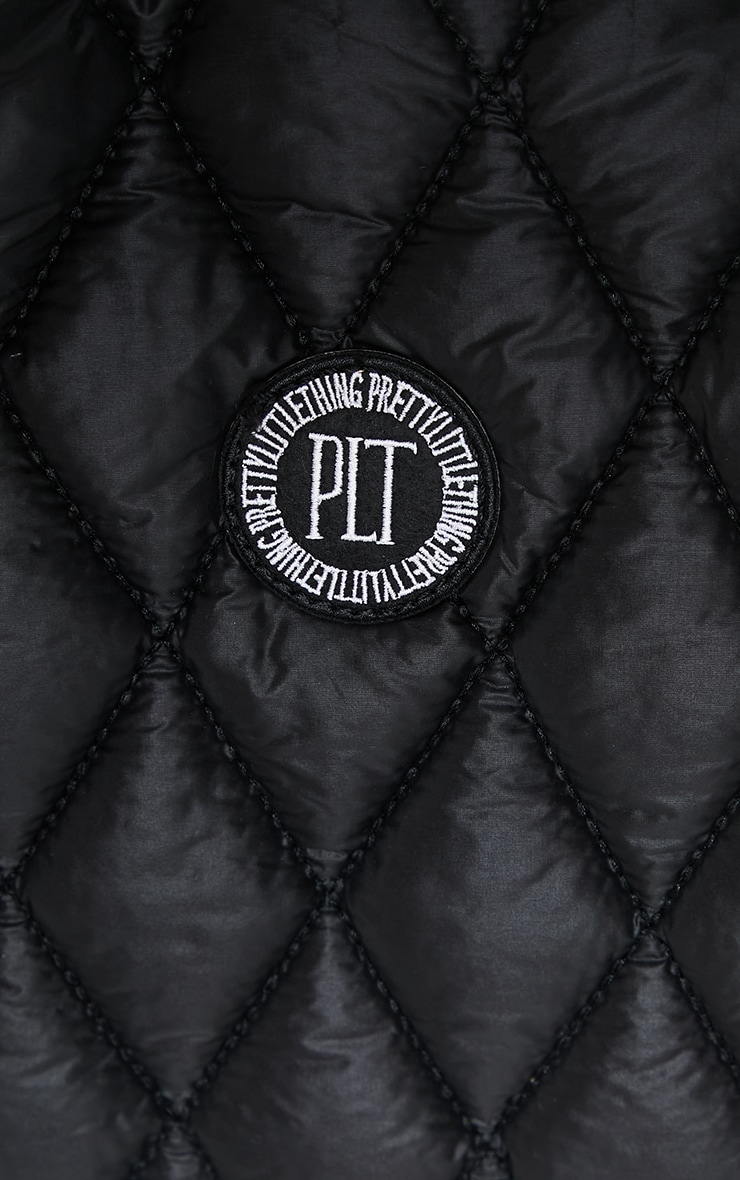 PRETTYLITTLETHING Black Quilted Badge Tote Bag 4