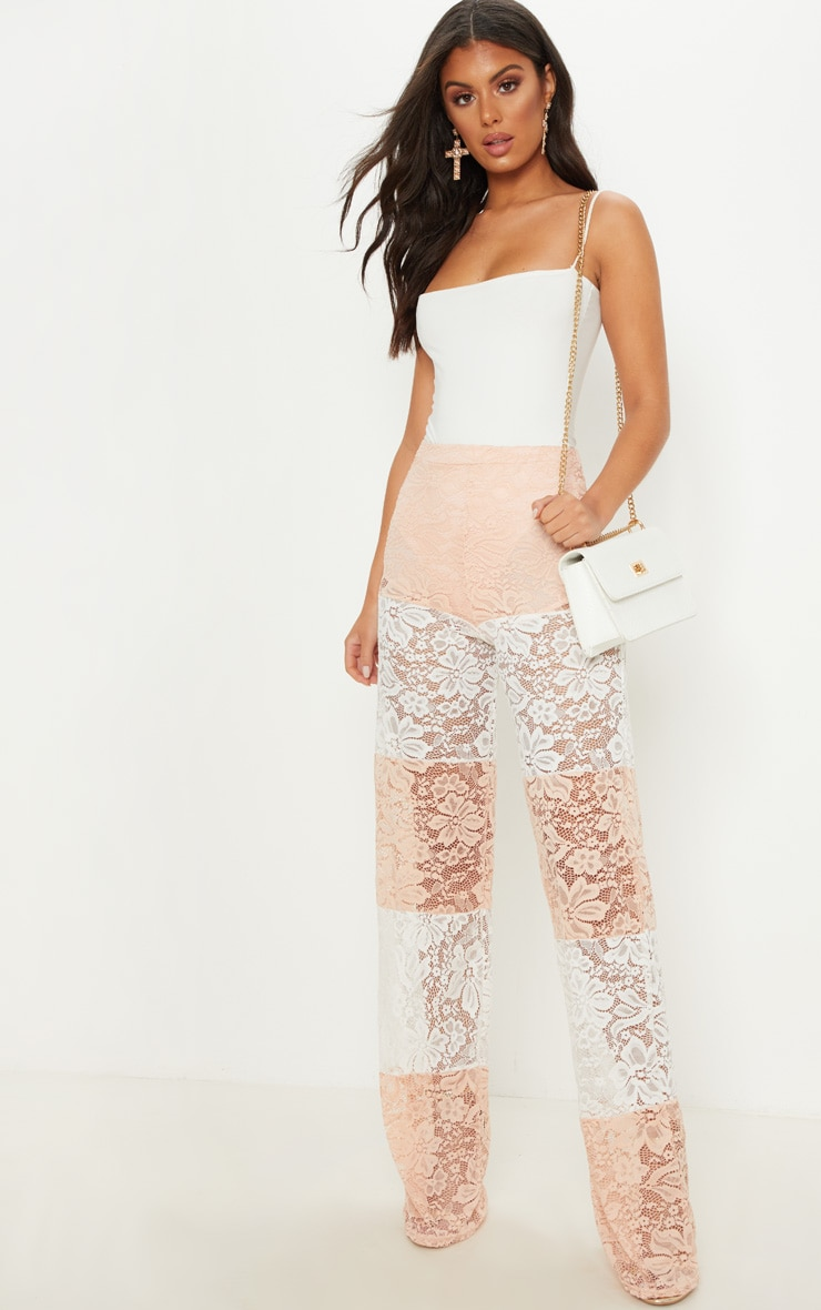 White Colour Block Stripe Lace Wide Leg Trouser