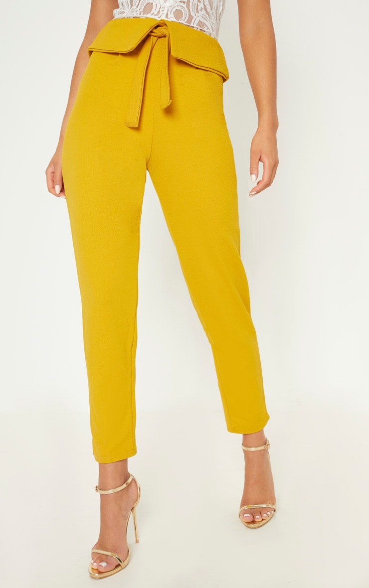 Mustard Turn Back Waist Detail Trouser 2