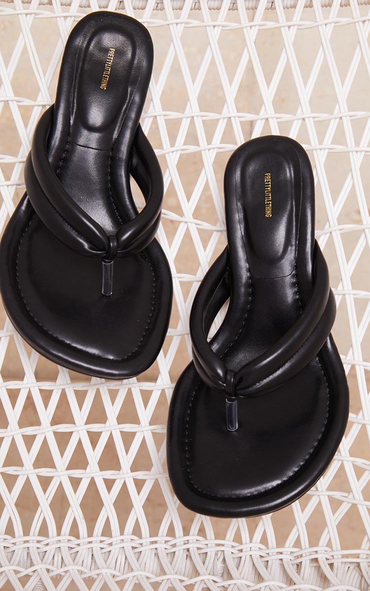 Black Round Toe Thong Tube Strap Heeled Sandals 3
