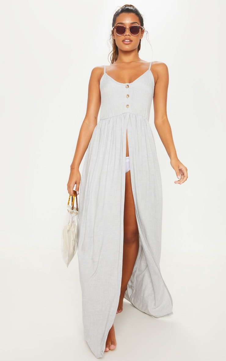 Grey Split Leg Button Beach Dress 4