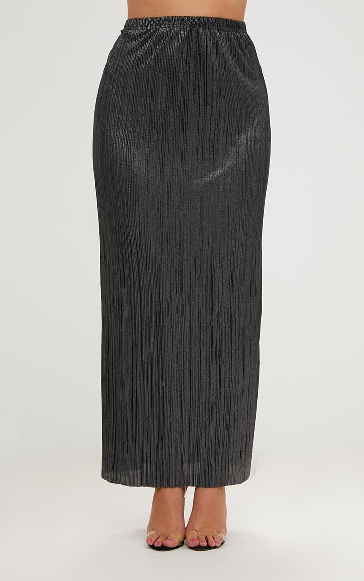 Plus Black Pleated Maxi Skirt 2