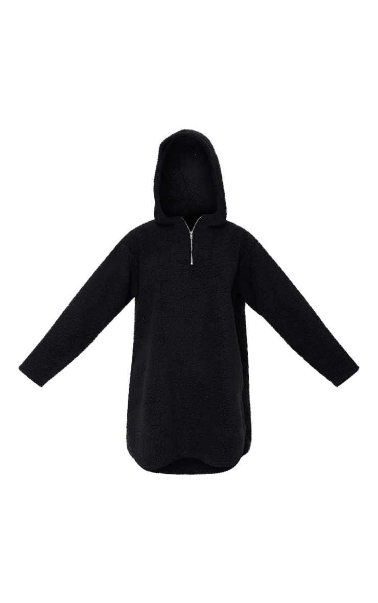 Black Borg Zip Neck Hoodie Oversized Sweater Dress 3