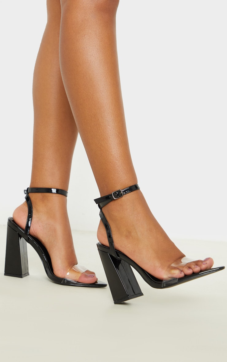 Black Point Toe Block Heel Sandal 1