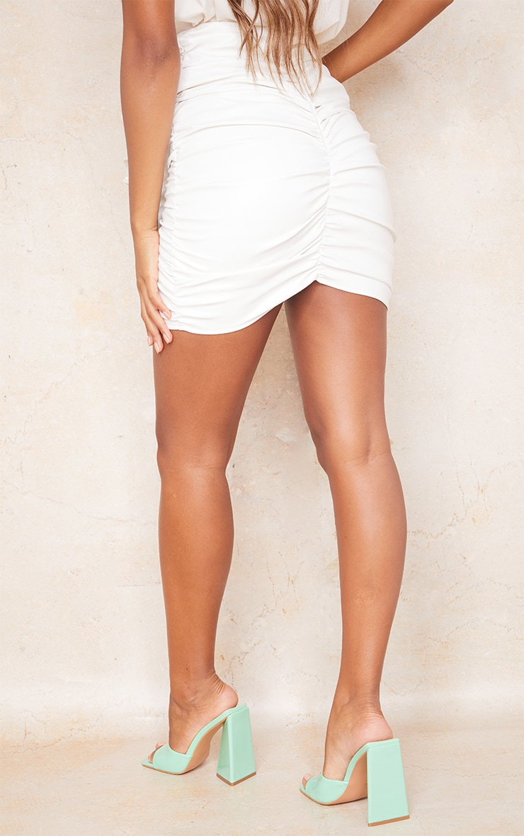 White Detailed Faux Leather Ruched Mini Skirt 3