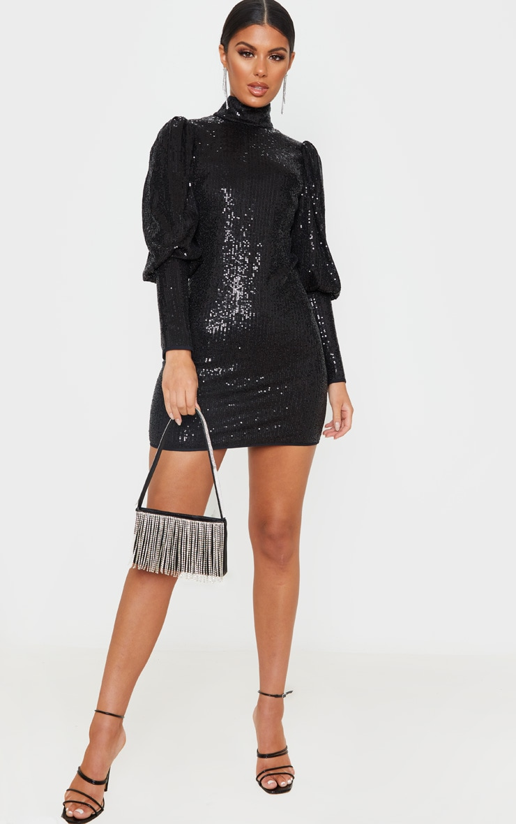 Black Sequin Puff Sleeve Bodycon Dress 4