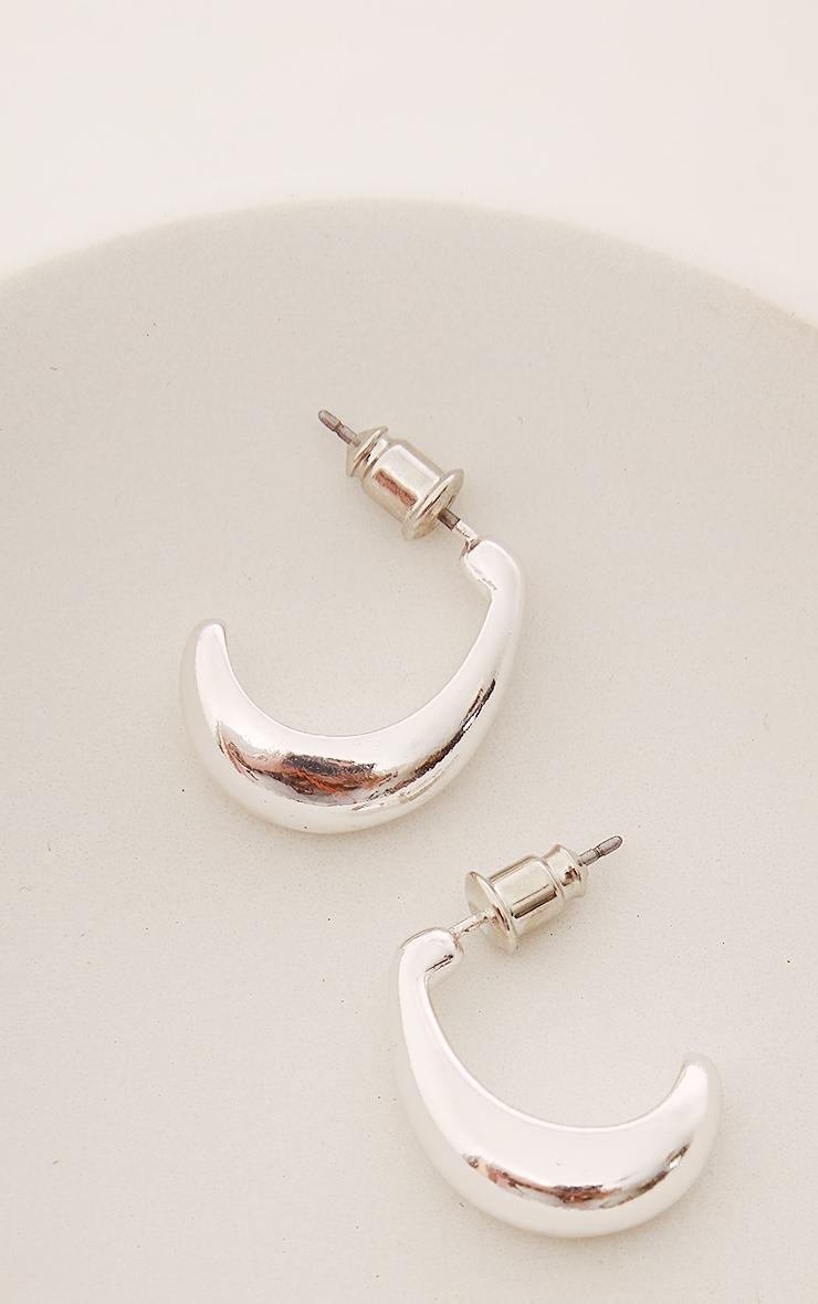Silver Oval Drop Mini Hoop Earrings 3