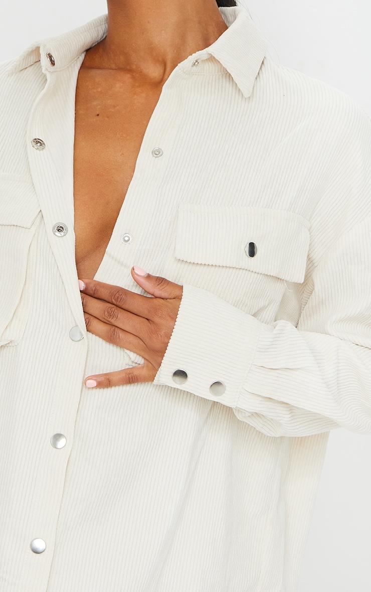 Cream Cord Pocket Detail Shirt Dress 4
