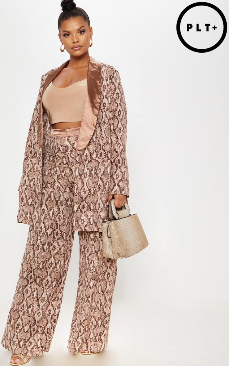 Plus Taupe Snake Print Wide Leg Trousers