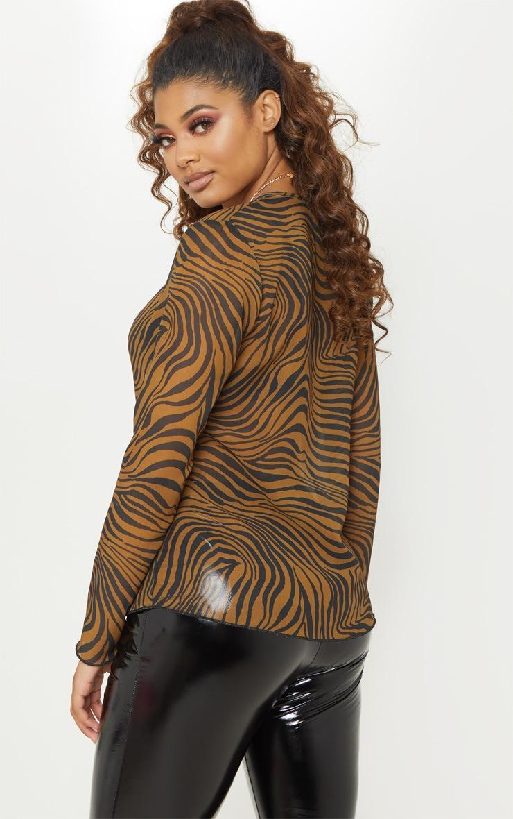 Tall Brown Zebra Print Chiffon Blouse 2