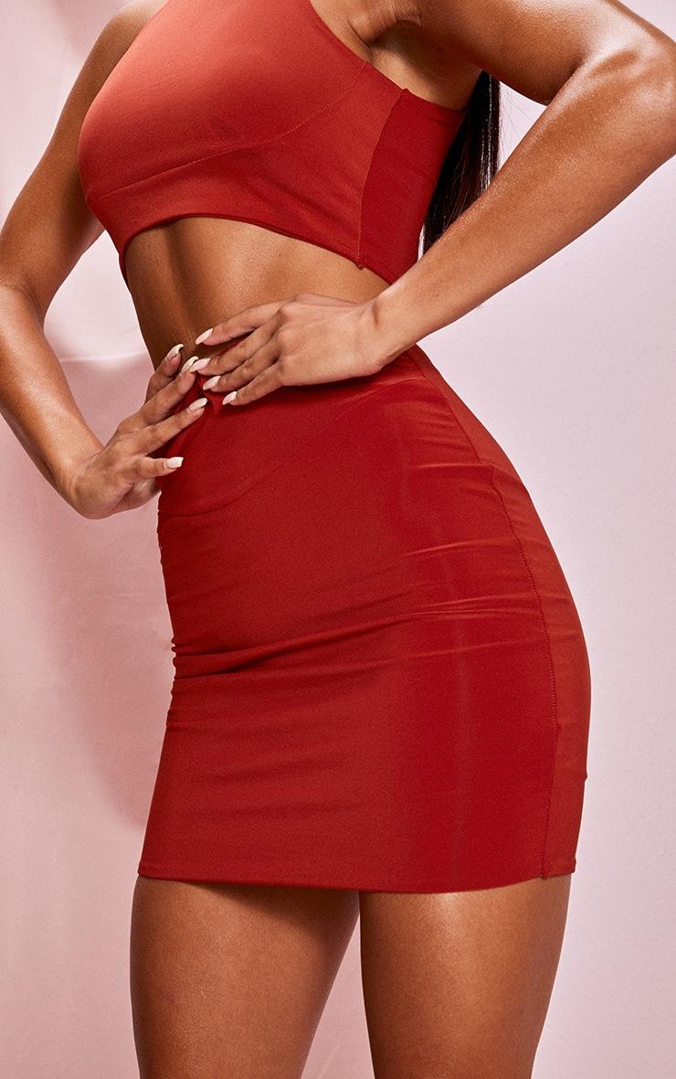 Burnt Orange Slinky Seam Front Mini Skirt 5