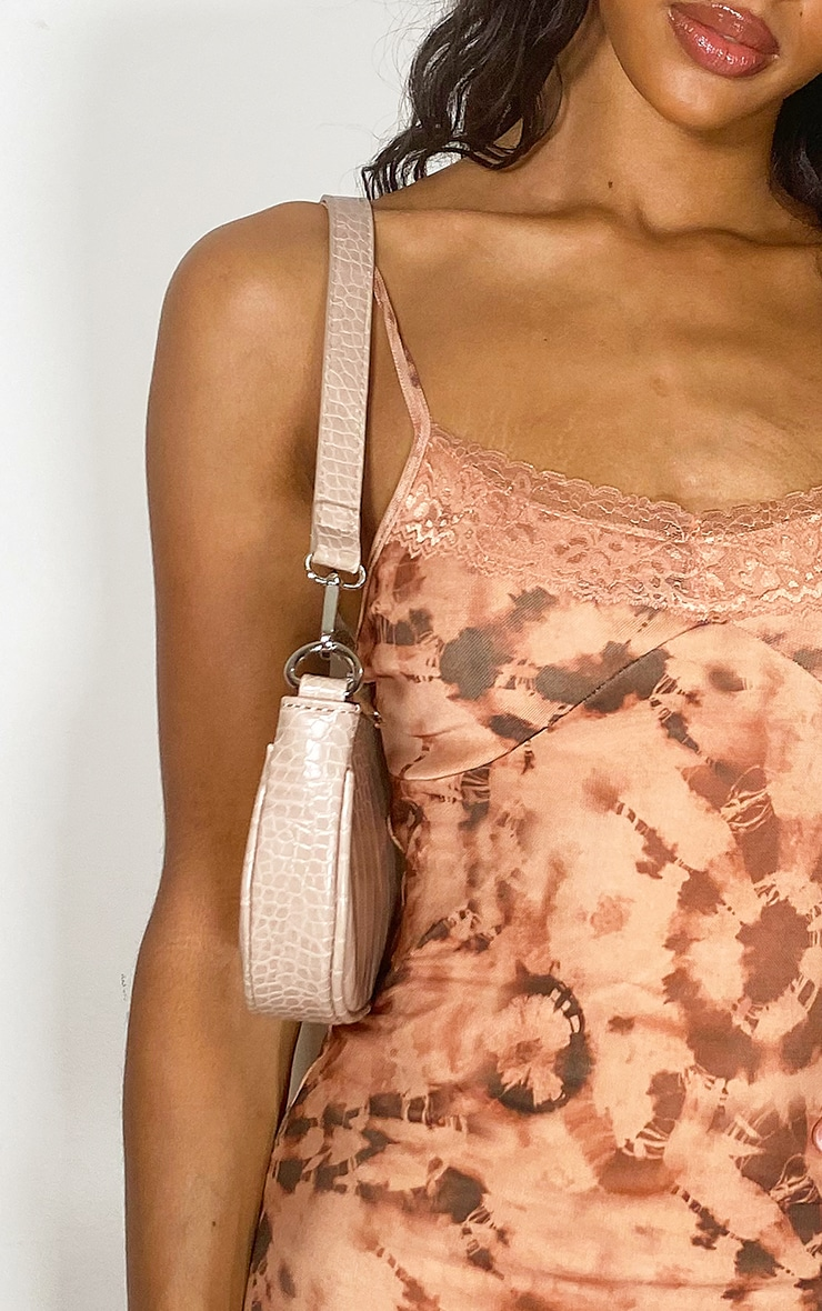 Nude Tie Dye Lace Detail Strappy Bodycon Dress 4