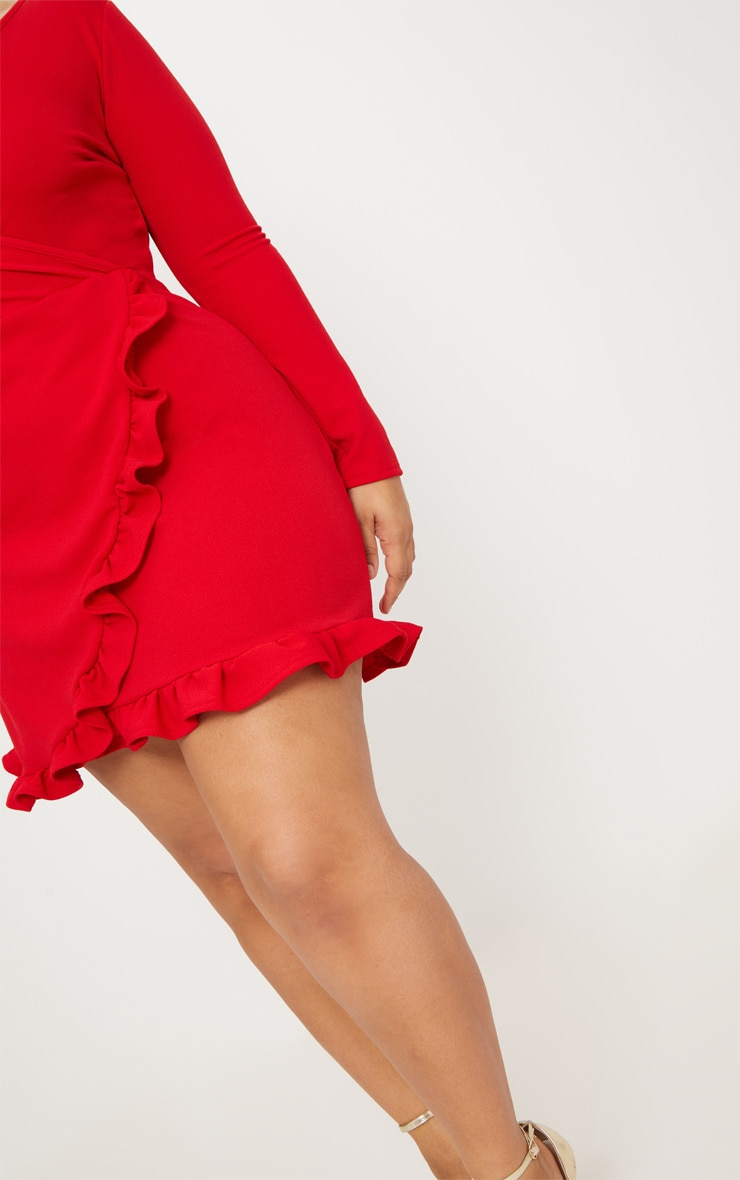 Plus Red Ruffle Detail Wrap Dress 6