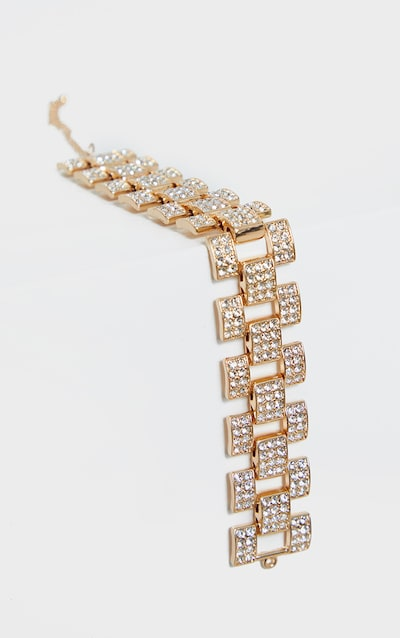 Gold Diamante Watch Chain Look Anklet