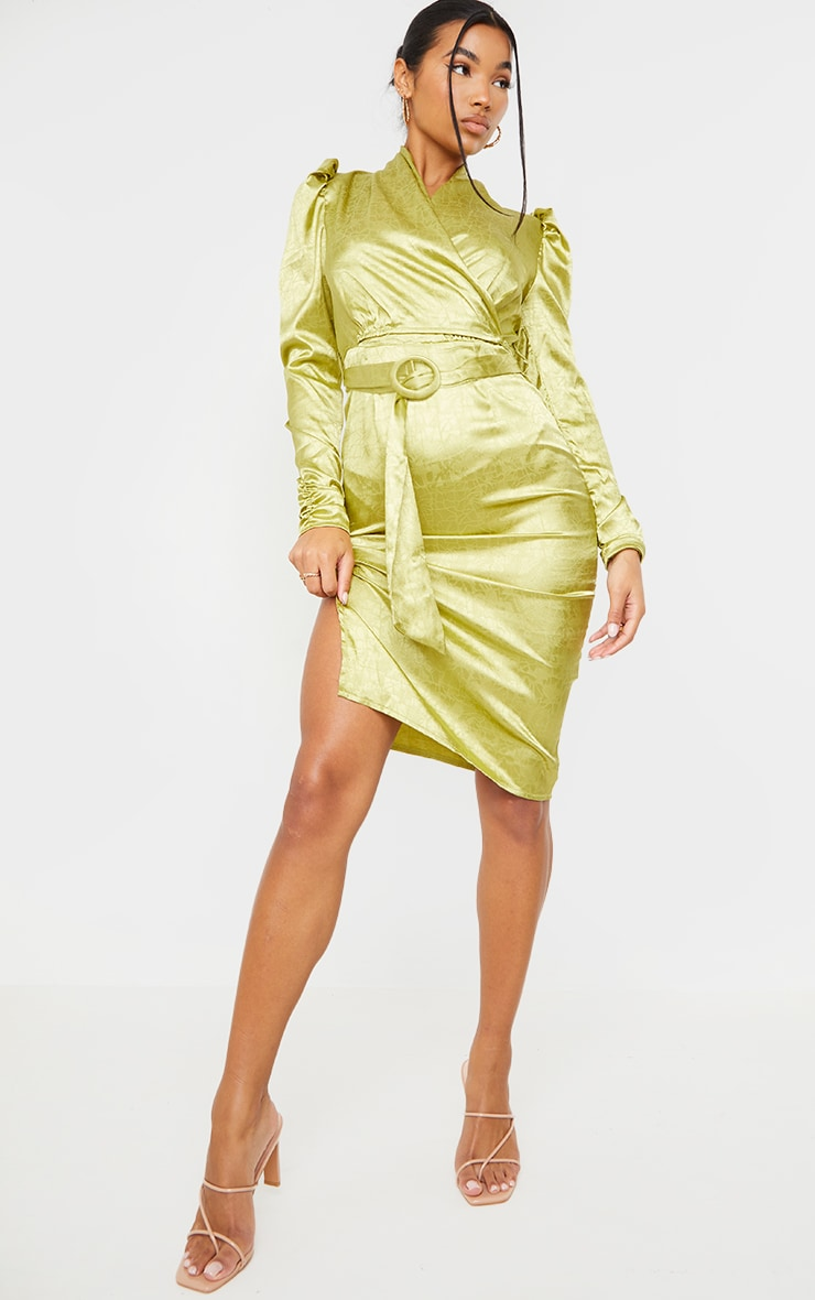 Sage Green Satin Jacquard Ruched Sleeve Wrap Midi Dress 1