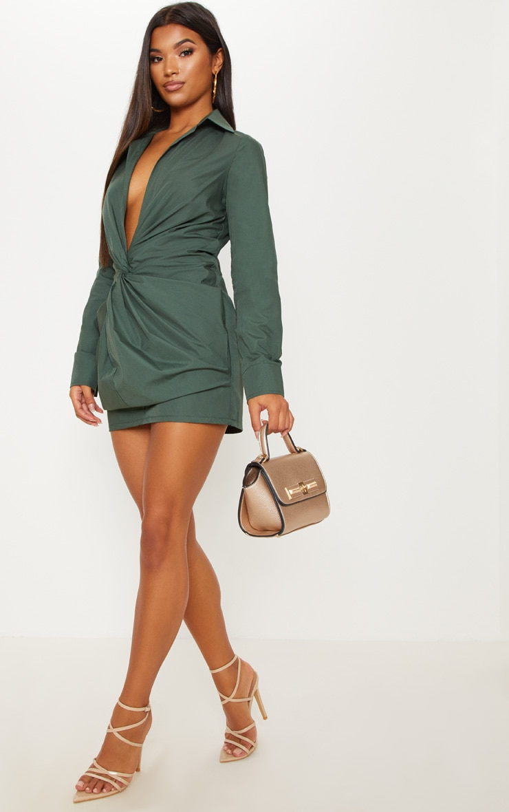 Dark Green Plunge Knot Detail Shirt Dress