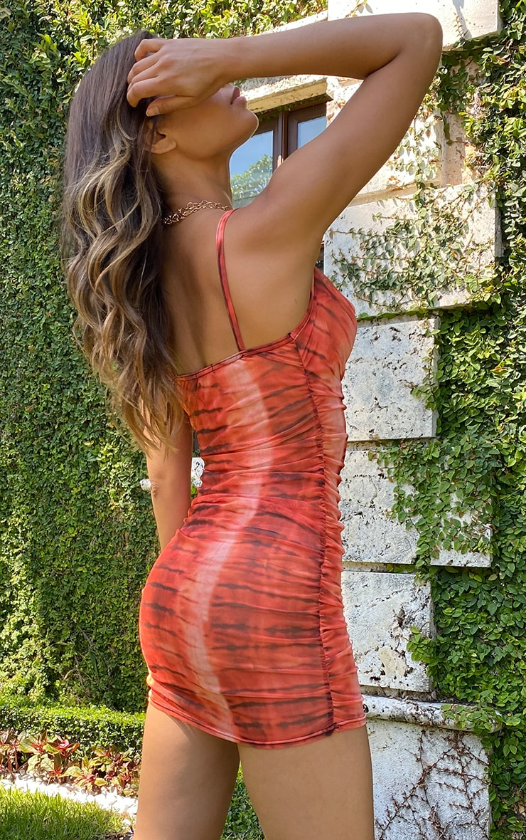 Tall Orange Tie Dye Print Cowl Neck Ruched Bodycon Dress 2