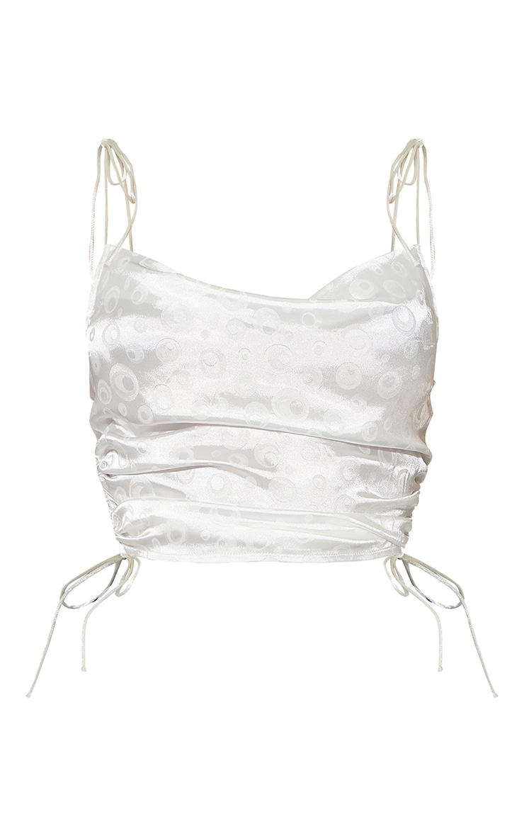 White Jacquard Satin Ruched Strappy Crop Top 5