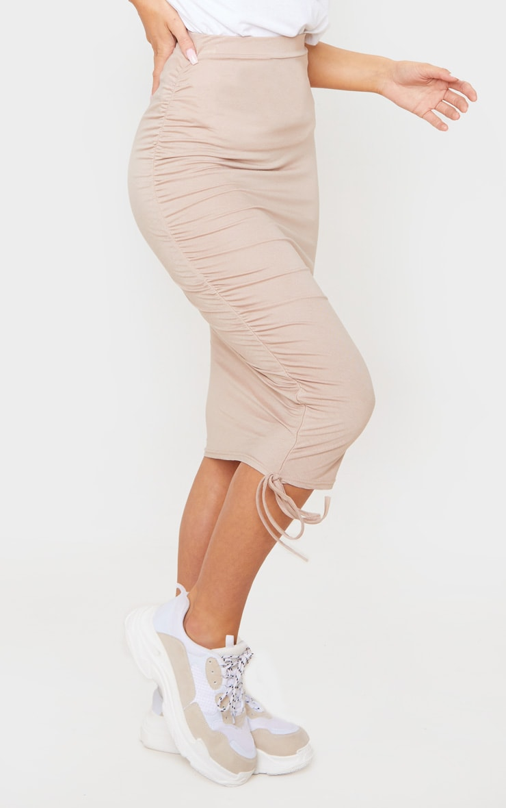 Stone Jersey Ruched Side Detail Midi Skirt  2