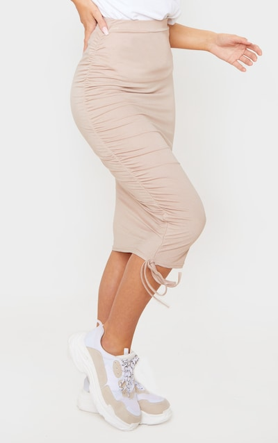 Stone Jersey Ruched Side Detail Midi Skirt