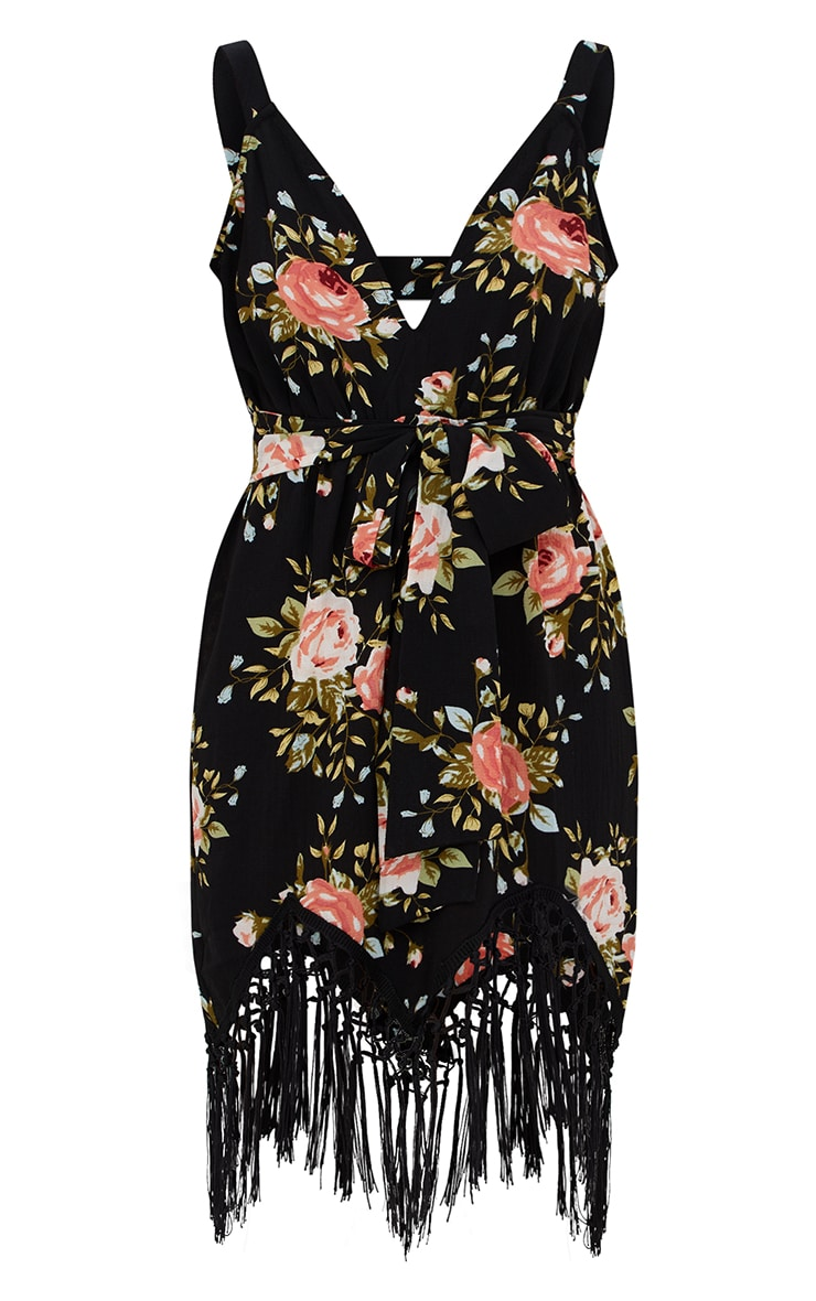 Black Floral Tassel Hem Midi Dress 3