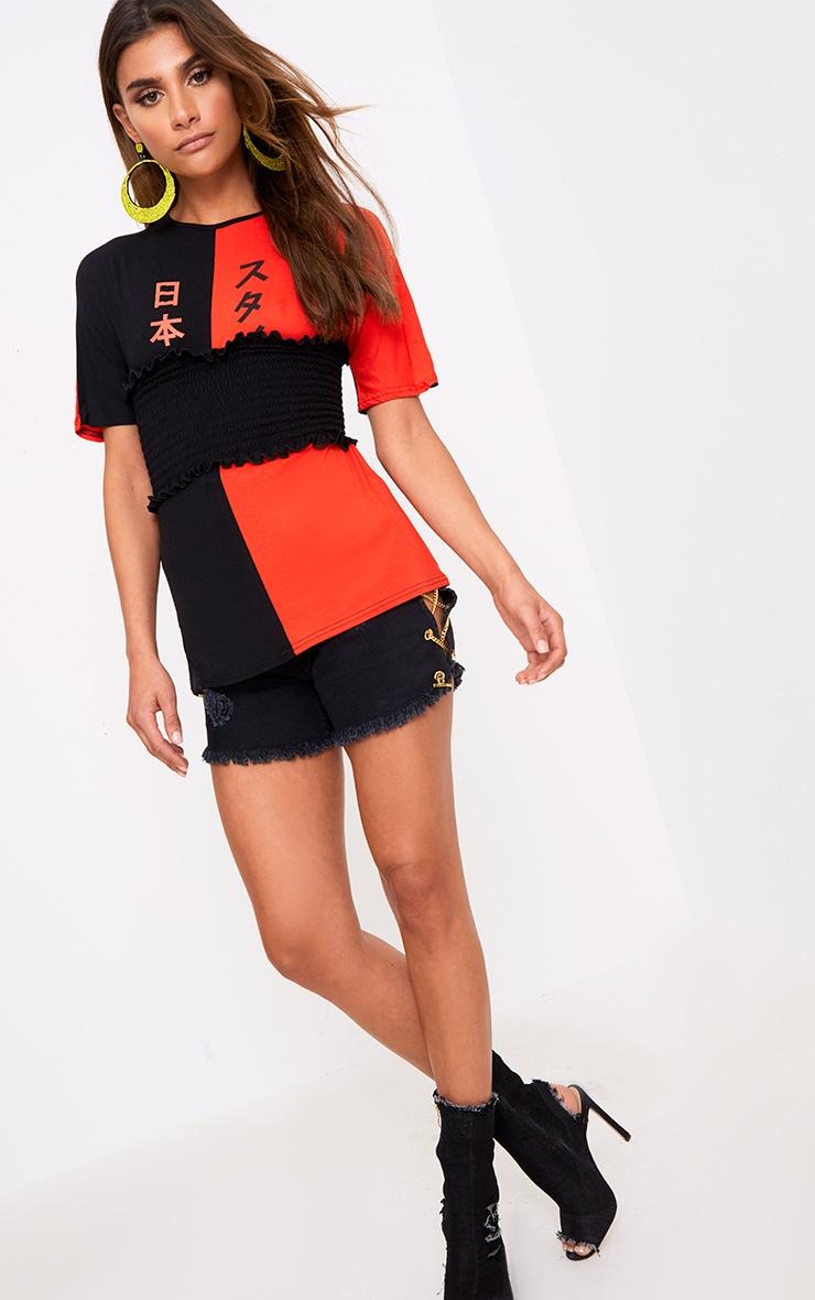 Black Spliced Print  Corset T Shirt  4