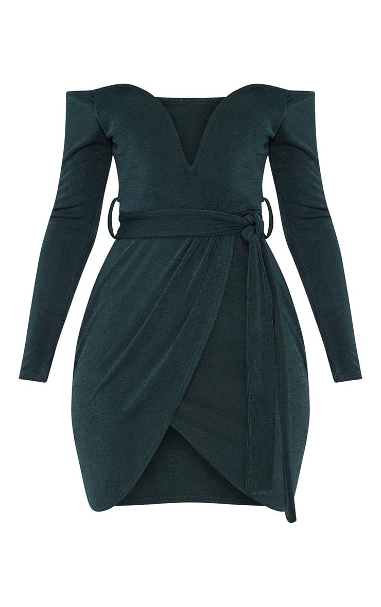 Emerald Green Sweetheart Tie Waist Bardot Bodycon Dress 3