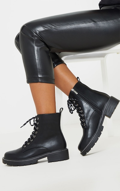 Black Chain Sole Cleated Chunky Lace Up Ankle Boot