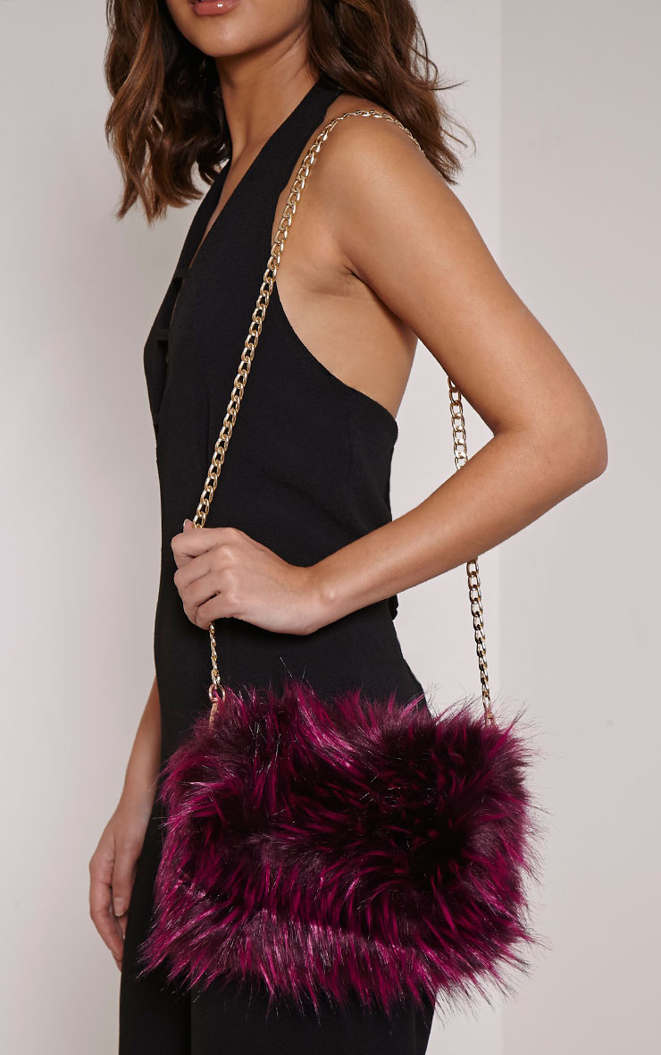 Marny Puple Faux Fur Chain Shoulder Bag 2