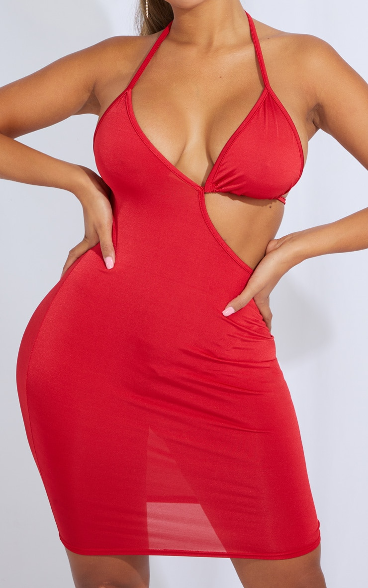 Shape Red Slinky Cut Out Tie Detail Bodycon Dress 4