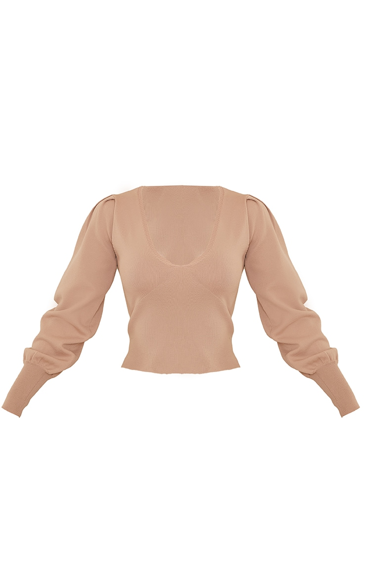 Nude Underbust Knitted Puff Shoulder Top 5