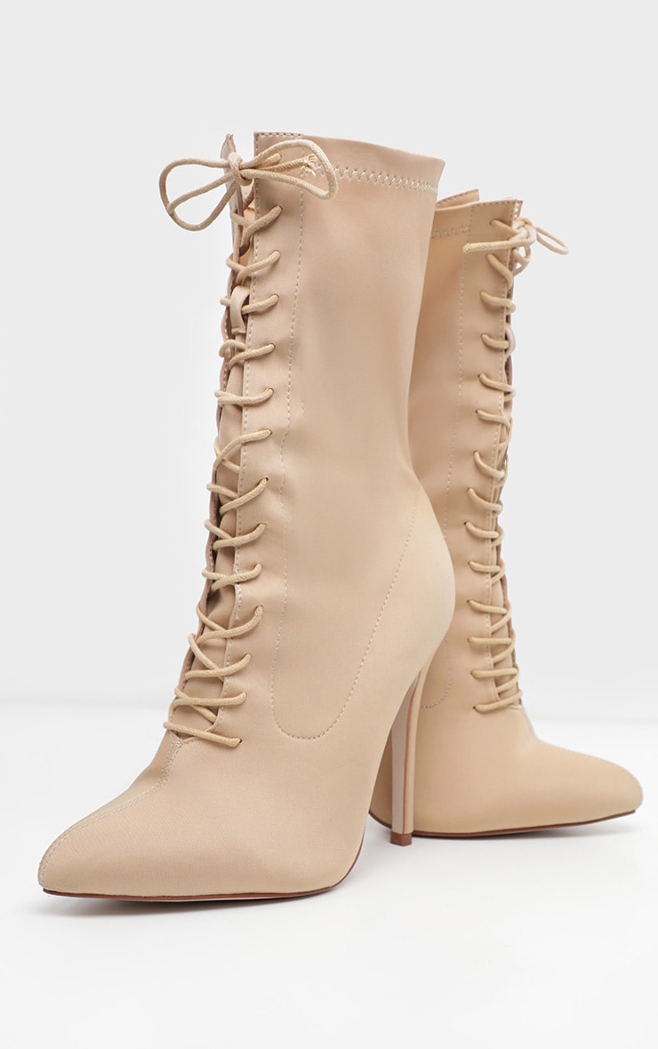 Nude Wide Fit Lace Up Sock Boot 3